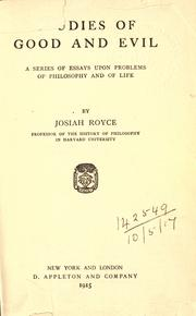 Studies of good and evil by Josiah Royce