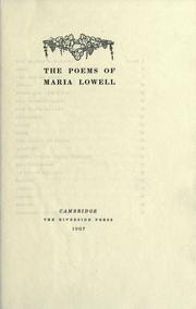 Cover of: The poems of Maria Lowell