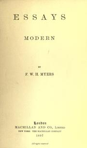 Essays by Frederic William Henry Myers