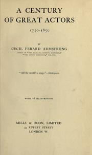 Cover of: A century of great actors, 1750-1850