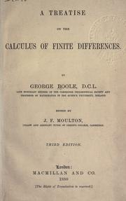 Cover of: Treatise on the calculus of finite differences | George Boole