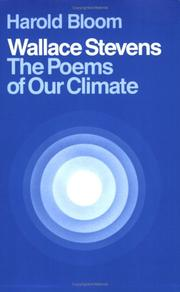 Cover of: Wallace Stevens: the poems of our climate
