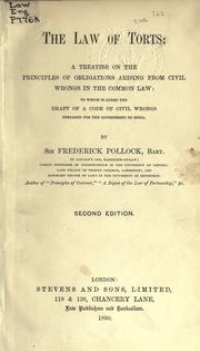 The law of torts by Pollock, Frederick Sir