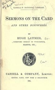 Cover of: Sermons on the Card and Other Discourses