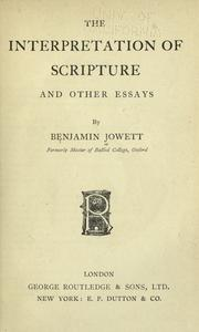 Cover of: The interpretation of scripture and other essays