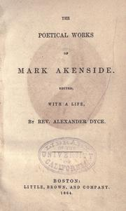 Cover of: The poetical works of Mark Akenside by Mark Akenside