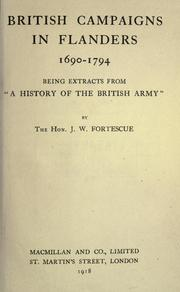 "Cover of: British campaigns in Flanders, 1690-1794: being extracts from ""A history of the British army,"""