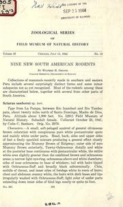 Cover of: Nine new South American rodents