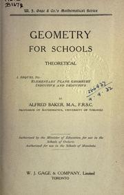 Cover of: Geometry for Schools; theoretical | Baker, Alfred