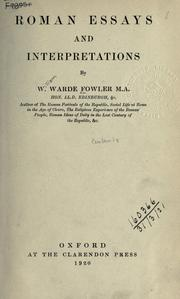 Roman essays and interpretations by W. Warde Fowler