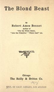 Cover of: The blond beast | Bennet, Robert Ames