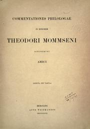 Cover of: Commentationes philologae in honorem Theodori Mommseni scripserunt amici. by