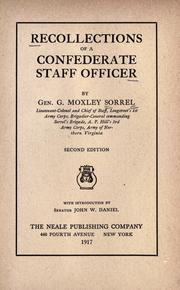 Cover of: Recollections of a Confederate staff officer