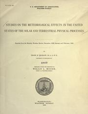 Cover of: Studies on the meteorological effects in the United States of the solar and terrestrial physical processes