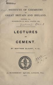 Cover of: Lectures on cement