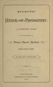 Cover of: Eclectic manual of phonography