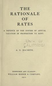 Cover of: The rationale of rates