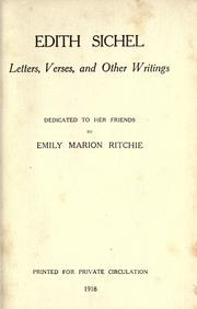 Cover of: Edith Sichel