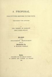 Cover of: A proposal for putting reform to the vote throughout the kingdom