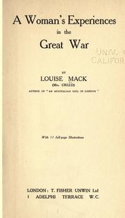 Cover of: A woman's experiences in the great war