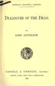 Dialogues of the dead by Lyttelton, George Lyttelton Baron