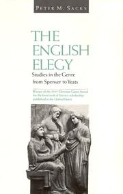 Cover of: The English Elegy | Peter M. Sacks