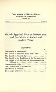 Cover of: Ostrich egg-shell cups of Mesopotamia and the ostrich in ancient and modern times
