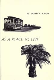 Cover of: California as a place to live