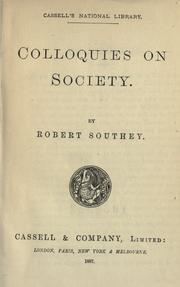 Cover of: Colloquies on society