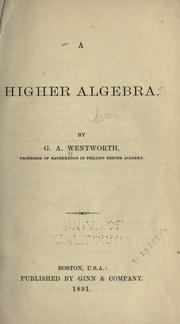 Cover of: A higher algebra