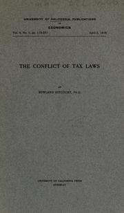 Cover of: The conflict of tax laws