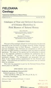 Catalogue of type and referred specimens of Crinozoa (Blastoidea) in Field Museum of Natural History by Julia Golden