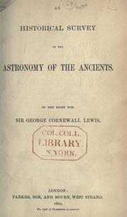 Cover of: An historical survey of the astronomy of the ancients