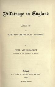 Cover of: Villainage in England: essays in English mediaeval history.