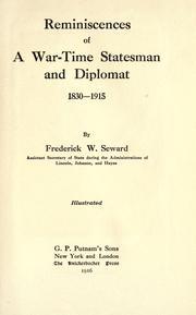 Cover of: Reminiscences of a war-time statesman and diplomat, 1830-1915