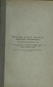 Cover of: William Clark: soldier, explorer, statesman