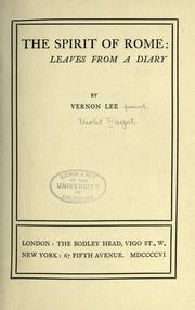 Cover of: The spirit of Rome: leaves from a diary