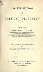 Cover of: Advanced text-book of physical geography