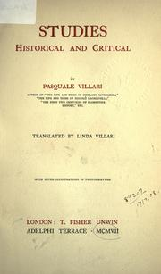 Studies, historical and critical by Pasquale Villari