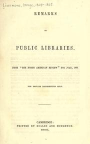 Cover of: Remarks on public libraries