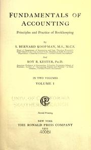 Cover of: Fundamentals of accounting