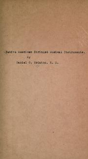 Cover of: Native American stringed musical instruments