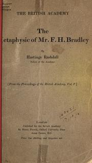 Cover of: The metaphysic of Mr. F.H. Bradley