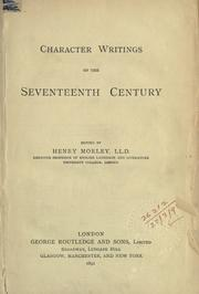 Cover of: Character Writings Of The Seventeenth Century
