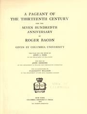 Cover of: A pageant of the thirteenth century, for the seven hundredth anniversary of Roger Bacon