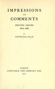 Cover of: Impressions and comments: second series, 1914-1920