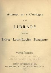 Cover of: Attempt at a catalogue of the library of the late Prince Louis-Lucien Bonaparte