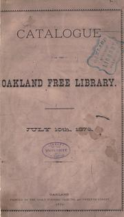 Cover of: Catalogue | Oakland Free Library.