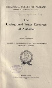Cover of: The underground water resources of Alabama