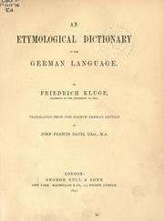 Cover of: Etymological dictionary of the German language